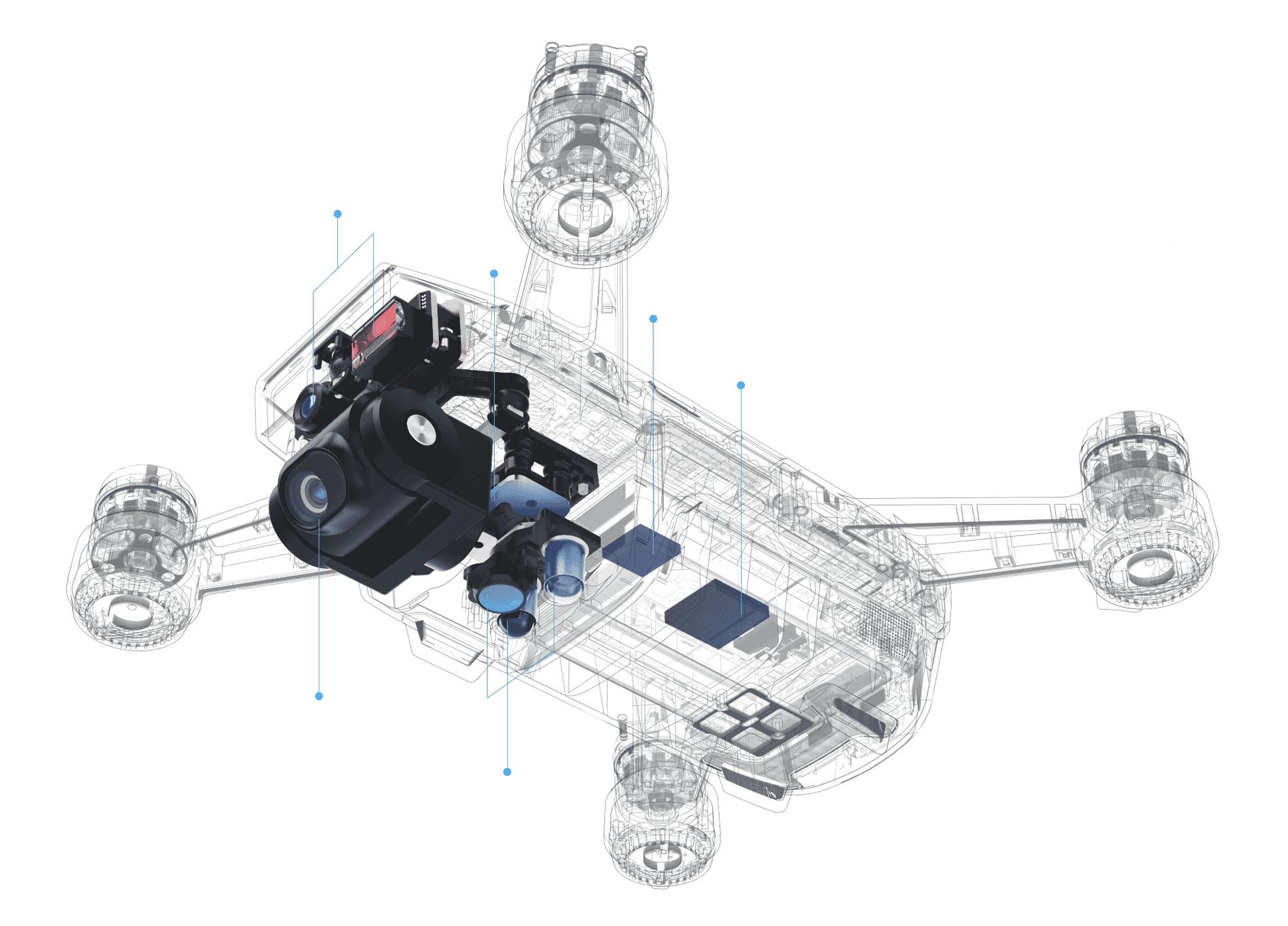 Квадрокоптер Spark в разрезе
