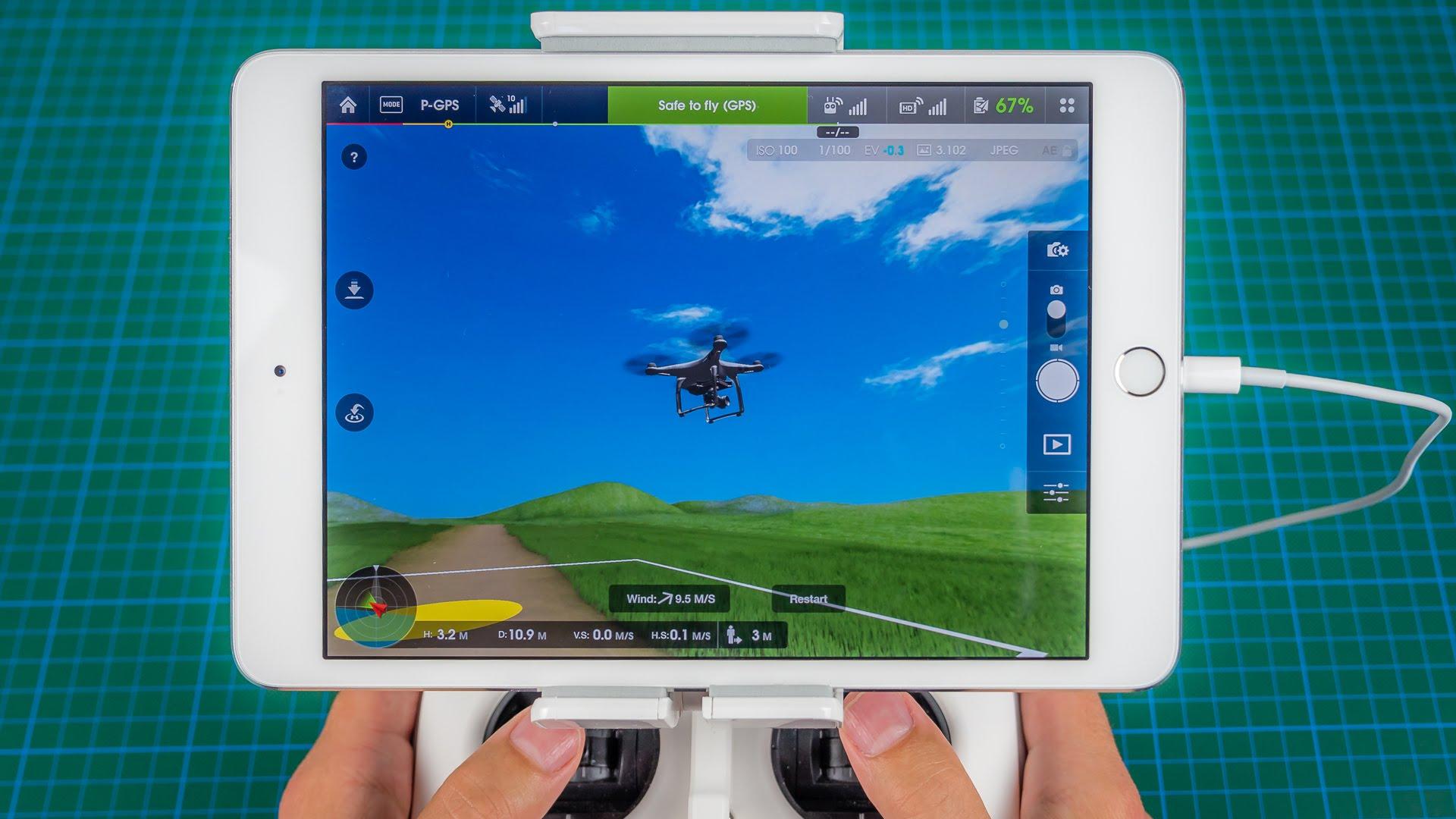 Симулятор полета квадрокоптером в приложении DJI GO